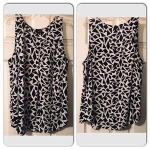 Black and white chiffon short sleeve blouse